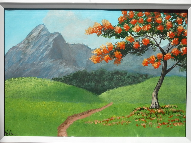"""Peinture """"Arbre à fleurs oranges"""""""