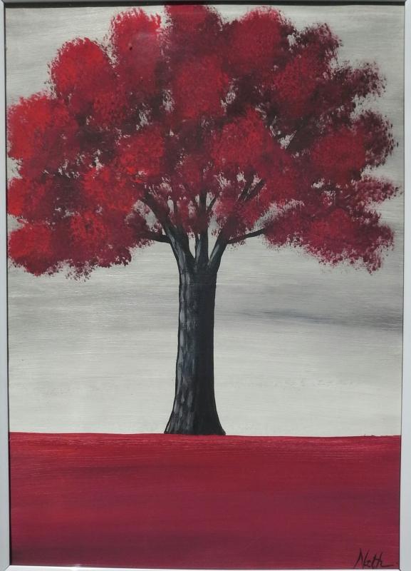 """Peinture """"Arbre rouge"""" avec cadre"""