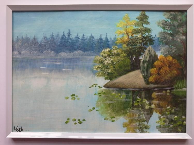 """Peinture """"Paysage"""" avec cadre"""