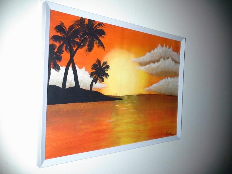 """Peinture paysage """"Coucher de soleil"""
