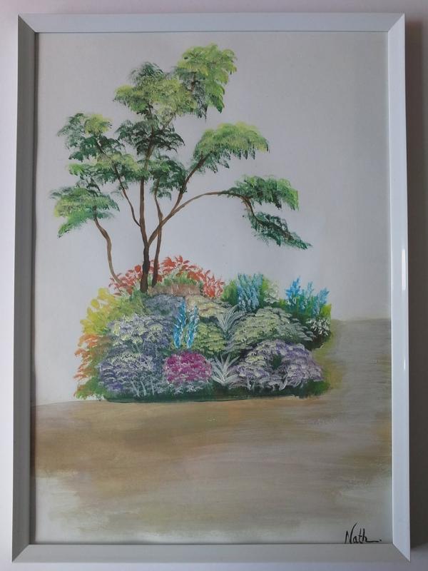 """Peinture """"Arbre et fleurs"""""""