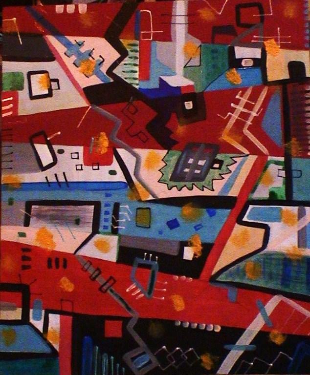 TABLEAU PEINTURE multipositions multicolore multispace poétique - Nuit urbaine