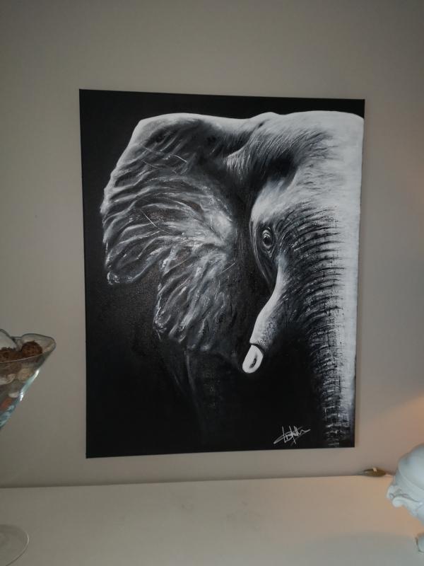 TABLEAU PEINTURE Éléphant Afrique Asie Tête - Éléphant