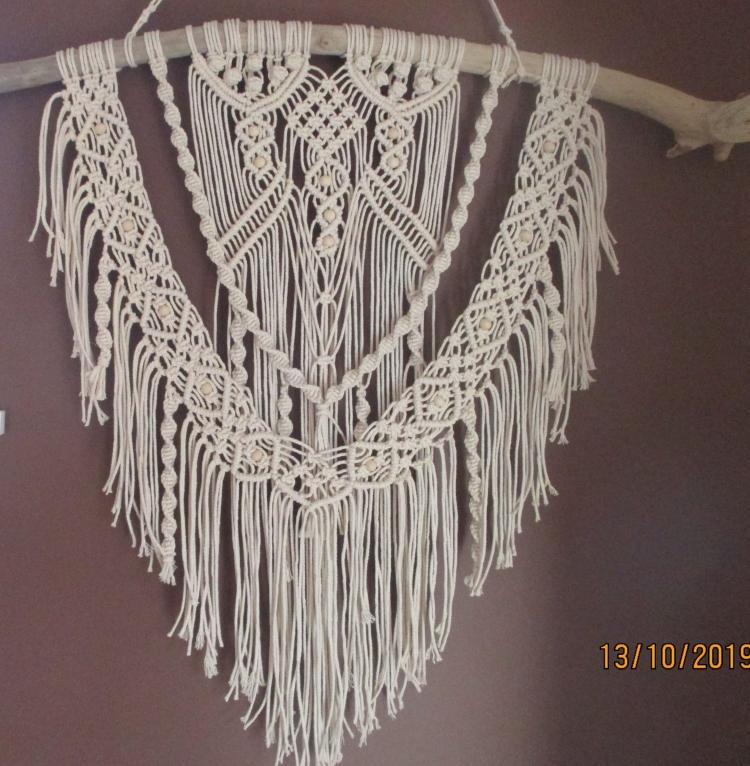 ARTISANAT D'ART bois flotté fait main coton perles - camille