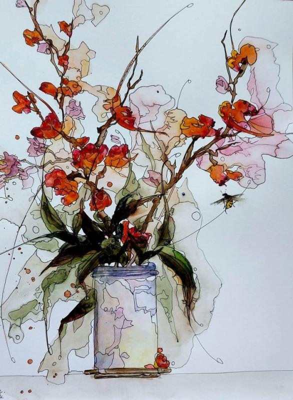 TABLEAU PEINTURE aquarelle abby fleurs sumie - Aquafeutre 29
