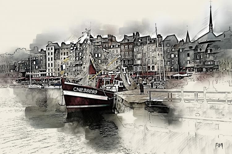 Chalut de côte dans le port d'Honfleur
