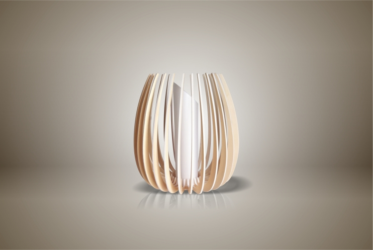 Luminaires ; Lampe eco design en bois, petite TULIPE sans tige