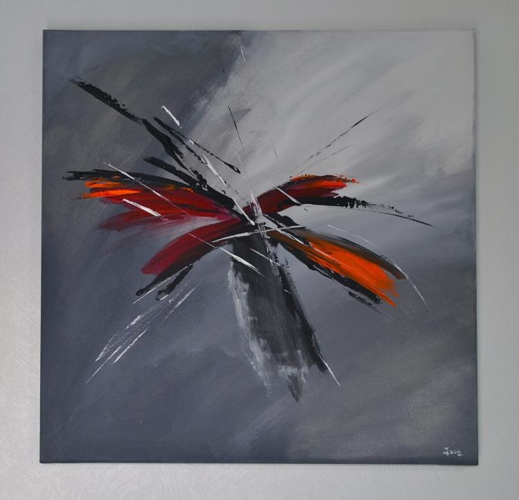 TABLEAU PEINTURE abstrait gris noir peinture - Le retour