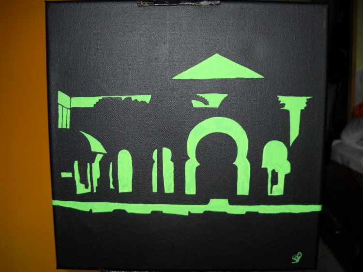 Tableau peinture acrylique : le Maroc la nuit