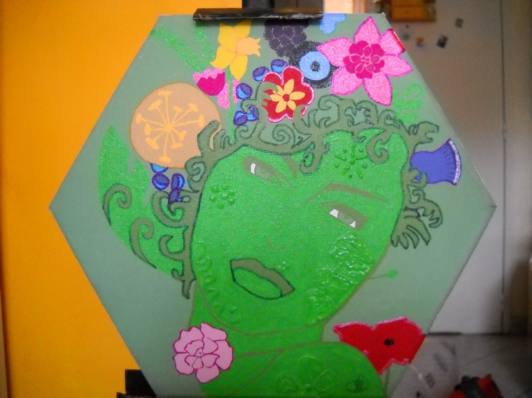 """Tableau en peinture acrylique : """"La femme-fleurs"""""""