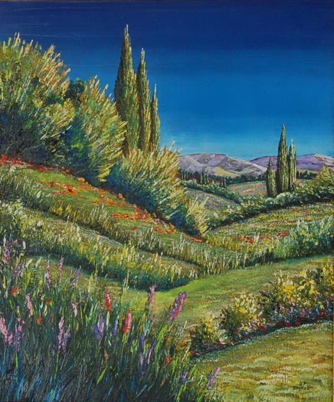 TABLEAU PEINTURE provence champs fleurs colline - alpilles
