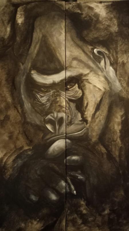 Tableau gorille penseur, peinture sur toile
