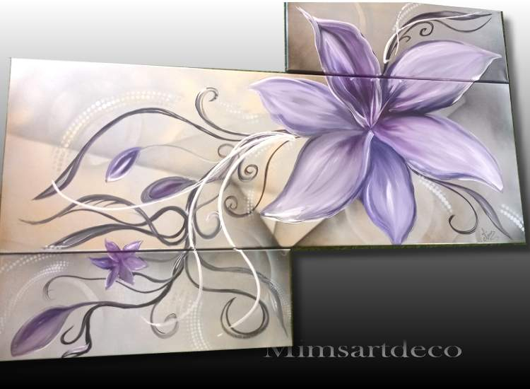 TABLEAU ABSTRAIT FLEUR DE LYS, peinture sur toile