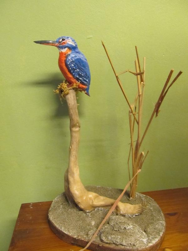 SCULPTURE martin pecheur sculp oiseaux bois sculpture animaliere - le martin pecheur