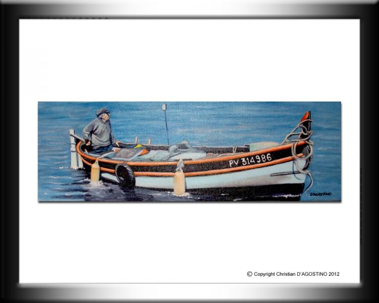 TABLEAU PEINTURE Collioure pecheur toile huile - Pêcheur à Collioure