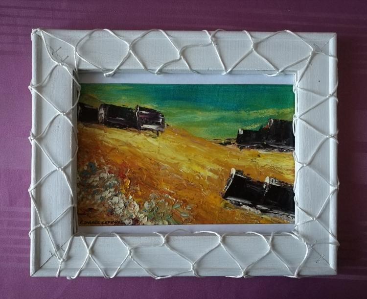 """TABLEAU PEINTURE HUILE COUTEAU BRETAG contemporain impress art peinture déco EDWIGE LEFEVRE - LANDE BRETONNE """"VILLAGE GUIDEL"""""""