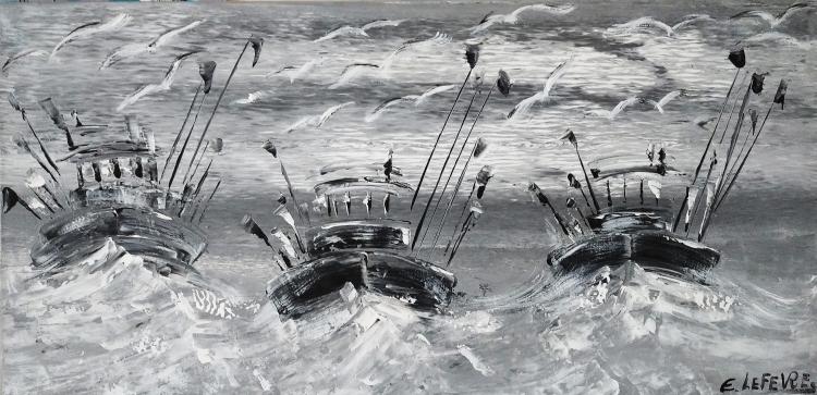 TABLEAU PEINTURE ART CONTEMPORAIN ABSTRAIT MARINE art du paysage moder art original peintur - Retour de pêche (6)