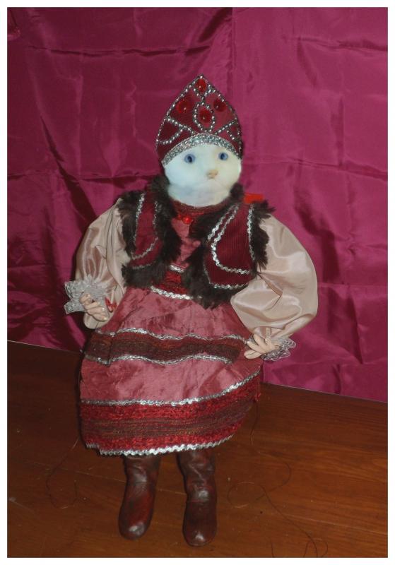 AUTRES marionnette chat chat bott costume russe - marionnette de chat en costume russe 2