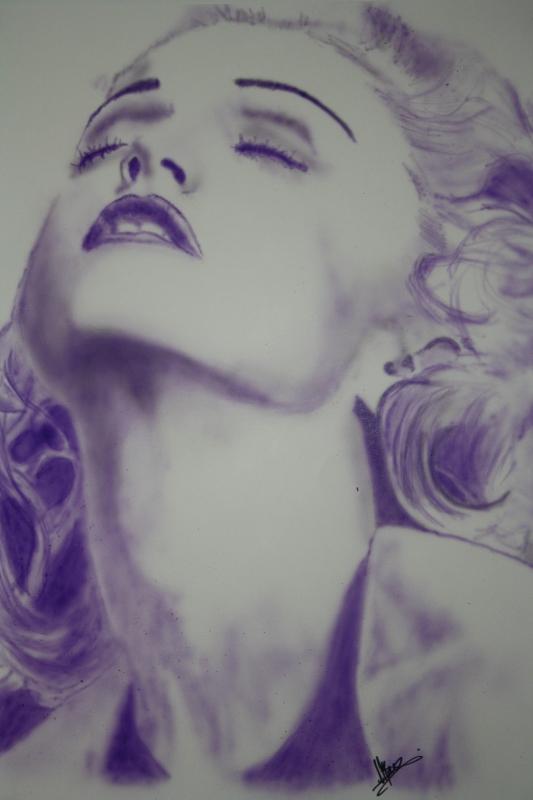 TABLEAU PEINTURE Madonna portrait aérographe aérographie - Madonna