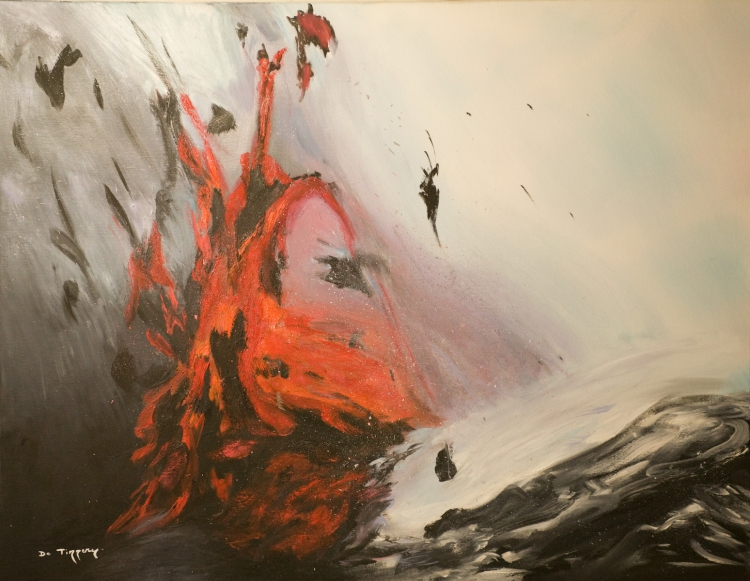 Tableau Peinture Art Volcan Eruption Feu Lave Peinture A L Huile Eruption