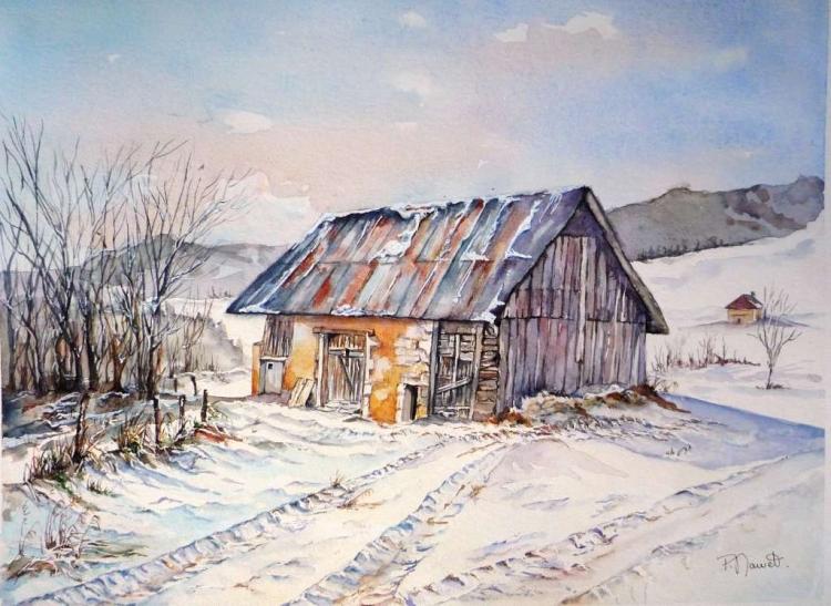 TABLEAU PEINTURE aquarelle granges mo aquarelle ferme aquarellec hartreuse paysage neige aquare - Traces en Chartreuse