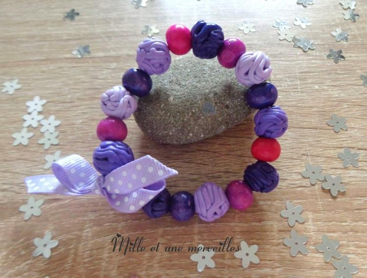 Bracelet FIMO dégradé violet perles rosées