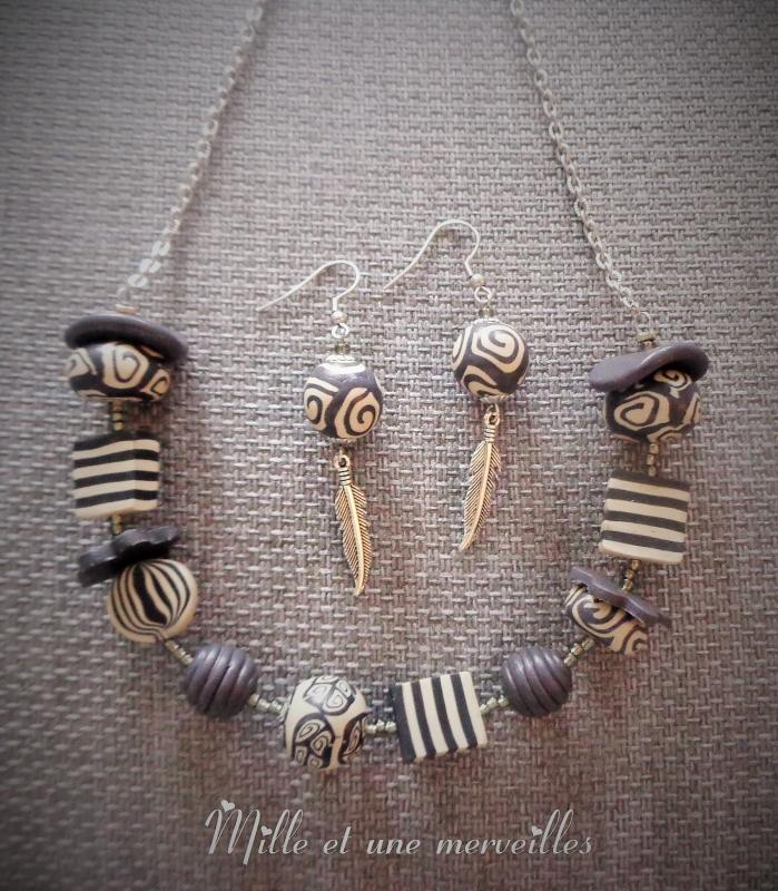Collier et boules d'oreilles en perles fimo