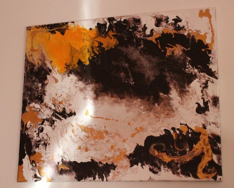 Tableau Peinture Art Marron Vanille Dore Jaune Abstrait Acrylique Sunday Vanille Chocolat