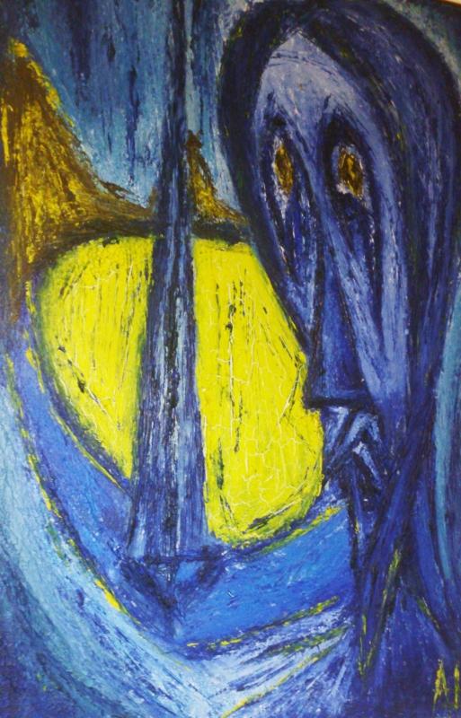 TABLEAU PEINTURE Peinture huile réflexion psychologiie - Secret de Jeune fille