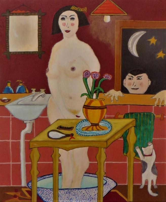 femme  a la salle de bain