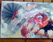 TABLEAU SCRAPBOOKING ET PEINTURE ACRYLIQUE TORO 33x22