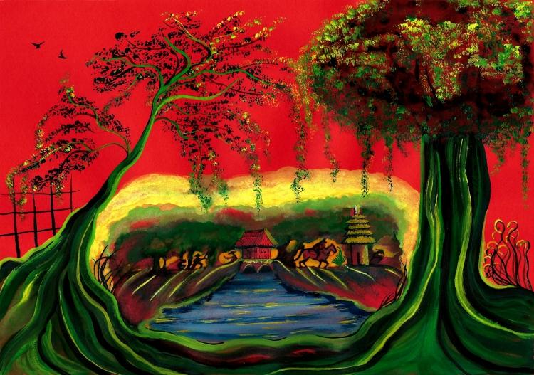 TABLEAU PEINTURE illustration poésie Chinois rouge - Un songe vers l'ancienne Chine