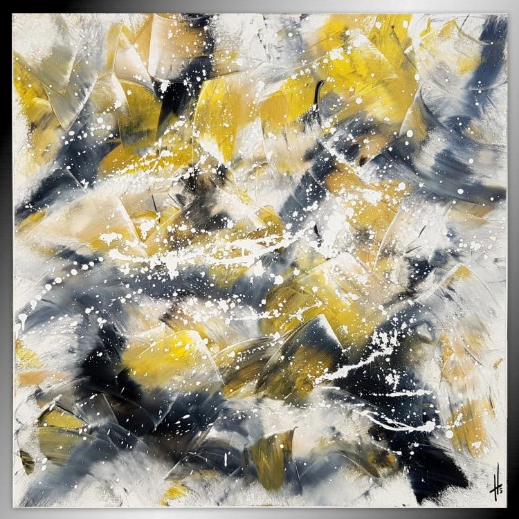 TABLEAU PEINTURE tableau jaune abstrait fait main moderne contemporain - FLAMENCO