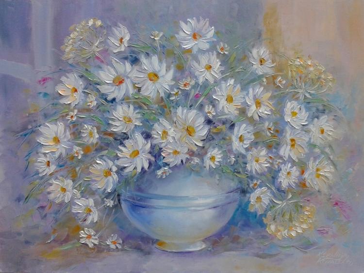 painting*Marguerite blanche donner le bonheur ... * Vendu