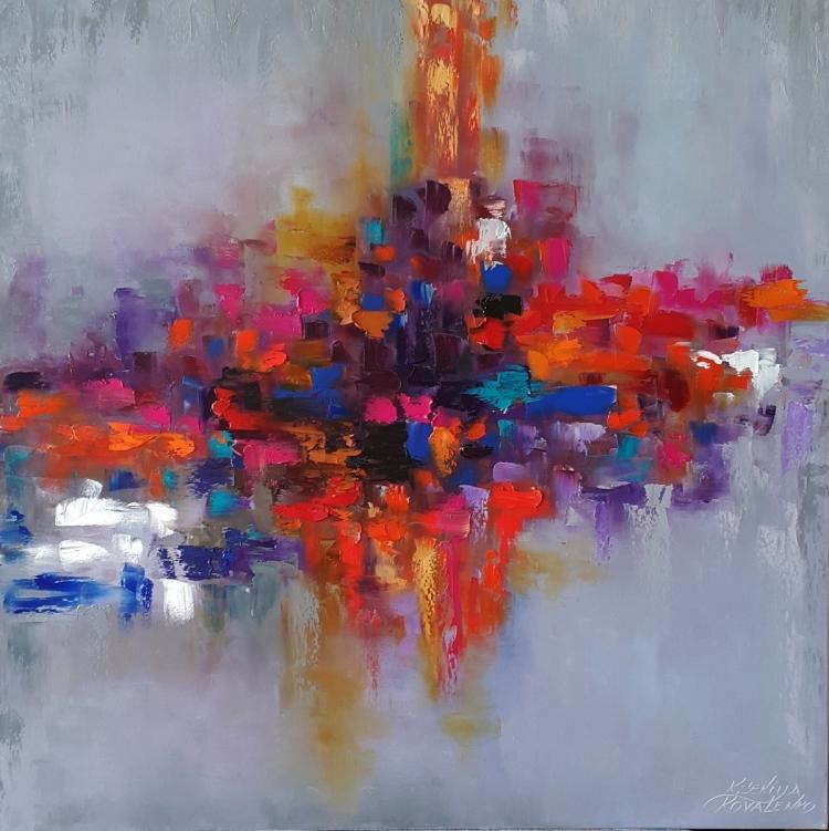 painting * Rainbow of emotions* oil on canvas 80x80cm  Vendu