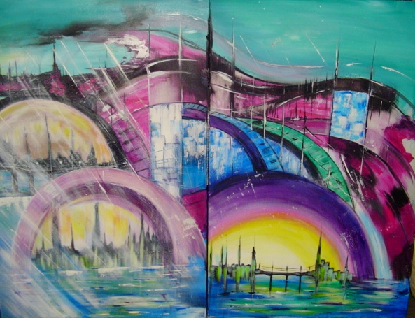 Tableau Peinture Art Tableau Abstrait Architecture Architecture Acrylique Ville Futuriste