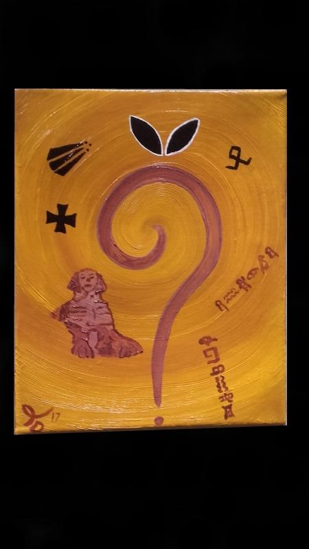 TABLEAU PEINTURE spirale sphinx mystère énigme - On m'aurait menti?