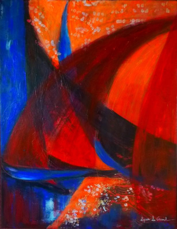 TABLEAU PEINTURE bateaux marine fête rouge - Voiles de nuit