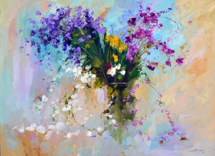 TABLEAU PEINTURE fleurs roses bouquet couleur - bouquet