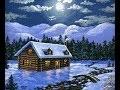 Peindre Un Chalet de montagne de neige au clair de la lune a l'acrylique par Ben Saber