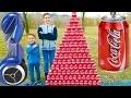 CRAZY COCA COLA CHALLENGE vs HOVERBOARD PRANK ! Swan fait une Pyramide Géante de Canettes…