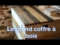 Grand coffre à bois de chauffage en palette et bois de récupération
