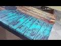 Malika Reine de création Algérie. Décoration d'une table basse . Effets bois avec de l'acrylique et