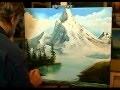 Cours de peinture par Cesar Denis, paysage d'hiver, montagnes, un peu dans le style Bob Ross