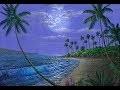 Peindre La Plage Et La Lune A L'Acrylique Sur La Toile