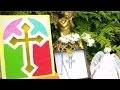 Bricolage communion à faire soi même : Carte vitrail d'une croix