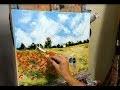 TUTO  LES COQUELICOTS DE MONET AU COUTEAU PAR NELLY LESTRADE (poppies, knife painting)