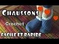 Chaussons crochet - Chaussettes femme - Tuto facile rapide français