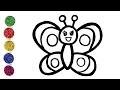Comment dessiner papillon pour bébé - Coloriage animal pour les enfants