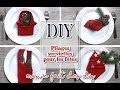 Comment faire des pliages de serviettes en tissu ou papier pour les fêtes ou noel sapin, fleur etc